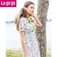 【5折价252.5】Lagogo/拉谷谷2018年夏季新款时尚V领拉链印花连衣裙HALL304H32