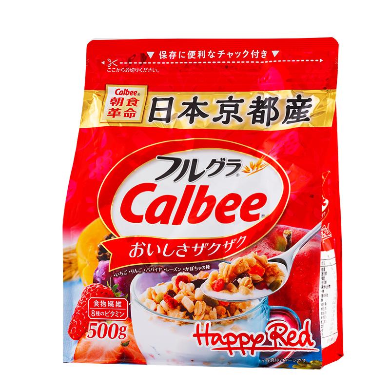 日本进口卡乐比calbee水果麦片500g 网红儿童早餐即食谷物送皇冠曲奇一盒