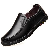 冬季男士加绒皮鞋男真皮黑色保暖加厚棉鞋男商务休闲中老年爸爸鞋 黑色 套脚 皮鞋款