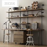ZUCZUG简易置物架铁艺书架现代简约落地式储物架转角水管隔板置物架实木