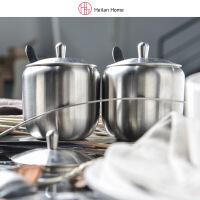 海澜优选304不锈钢调味罐连盖带勺子三个装连底座
