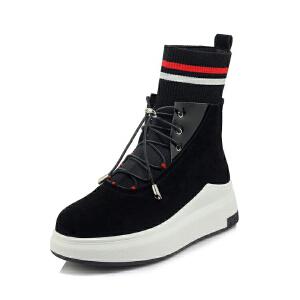 WARORWAR法国新品YG07-L02-8冬季休闲磨砂羊皮反绒皮真皮松�e底女士靴子马丁靴短靴
