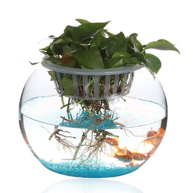 透明玻璃圆型金鱼缸水族箱 客厅茶几摆件 +充氧泵
