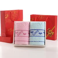 ???毛巾礼盒套装2条装 结婚生日创意定制 34x74cm