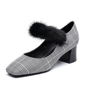 Belle/百丽2018春新品专柜同款格子布/貂毛皮革女皮鞋S3H1DAQ8