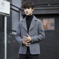 男装秋季潮男士风衣呢子夹克韩版修身短款毛呢大衣男春秋外套