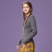 【1件3折到手价:53.97】美特斯邦威慵懒风毛衣女冬款纯色百搭针织衫修身舒适圆领套头衫