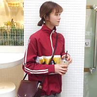 春季chic女装半高领拉链拼接印花休闲运动夹克外套长袖上衣潮