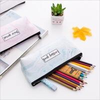 日系新款学生文具袋 大理石纹PU笔袋 多功能拉链文具盒化妆收纳包