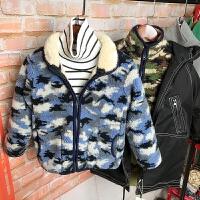 儿童迷彩摇粒绒外套春秋冬男童小孩加羊羔绒卫衣拉链开衫夹克衫潮