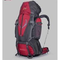户外登山包双肩包80L男女运动大容量防水露营背包帐篷背包旅游包 红色 (款式A) 80L+5L