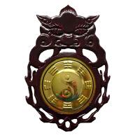 桃木木雕挂件风水用品家居装饰品八卦兽头桃木镜