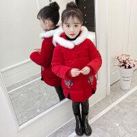 女童棉衣唐装加厚冬季儿童新年装周岁宝宝拜年服洋气女孩保暖棉袄 红色 90(90(正码 无需拍大)收藏加购优先发货)