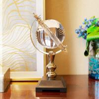 家居生活用品欧式水晶地球仪摆件书房客厅酒柜装饰品办公室桌商务礼品礼物 水晶地球仪摆件