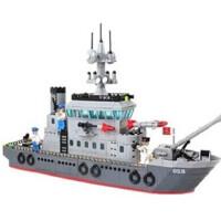 积木航空母舰乐高式护卫舰拼装式军事船塑料拼插模型玩具益智启蒙