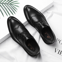 秋季布洛克皮鞋男休闲男士青年尖头韩版英伦男鞋潮流正装商务皮鞋