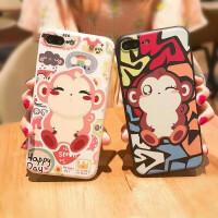 iPhone7/7plus/6/6s/6plus/6s plus个性可爱情侣猴系列彩绘浮雕 苹果8手机壳彩绘硅胶软套