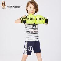 【2件5折:149.5】暇步士童装夏季新款男童套装时尚活力条纹背心五分裤套装儿童套装
