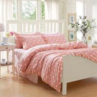 大学生宿舍 床上四件套三件套棉粉色床单被套全棉波点公主风 女