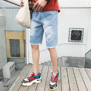 夏季新款男士牛仔裤破洞五分裤港风韩版短裤潮学生