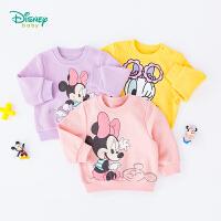 【2件3.8折到手价:52.9】迪士尼Disney童装 女宝宝抓绒卫衣可爱米妮印花上衣秋季新款儿童外出服保暖193S1