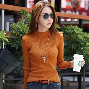 毛衣女韩版秋冬新款百搭半高领长袖打底衫套头显瘦针织上衣服
