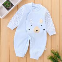 新生婴儿连体衣春秋季纯棉衣服宝宝哈衣睡衣爬爬服0-3-6-12个月薄
