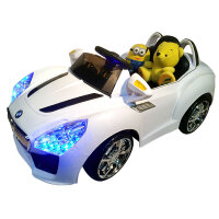 【当当自营】儿童电动车 宝马四轮电瓶车 宝宝带遥控电动汽车 可坐玩具汽车 双电双驱 8811白色