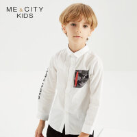 【1件2折到手价:49.8】米喜迪mecity童装秋新款男童袖子字母印花长袖衬衫