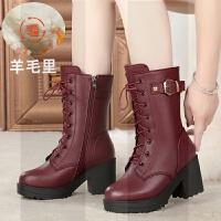 羊毛靴女棉鞋真皮短靴高跟中筒靴粗跟英伦风马丁靴女厚底中跟皮靴SN1985