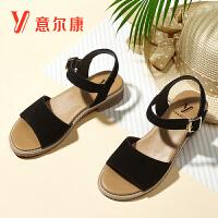 【限时价109】女鞋19热卖夏季牛反绒皮革粗跟一字扣带女凉鞋