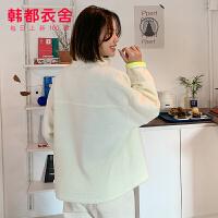 韩都衣舍2019韩版女装冬装新款百搭宽松拼接撞色短外套HO0242�