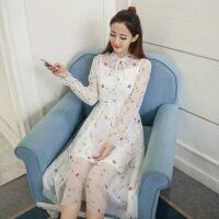 2018刺绣花朵蕾丝网纱连衣裙两件套 白色