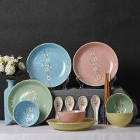 家用碗碟套装陶瓷器餐具釉下彩文艺樱花雪花碗盘套装