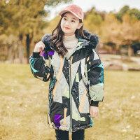 儿童棉衣女童2018新款韩版洋气12中长款15岁女孩大童冬季加厚 几何撞色