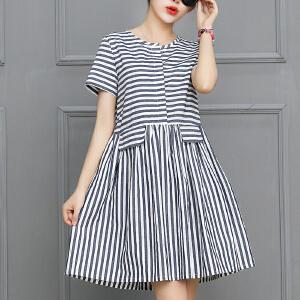 夏装2018新款条纹连衣裙春款中长款夏季短袖上衣韩版t恤衫