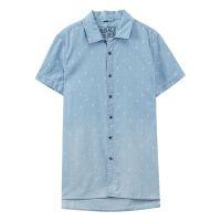 【1件2折到手价:31.2】METERSBONWE 时尚满底印花水洗衬衫