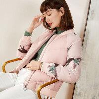 梵希蔓轻薄羽绒服女短款刺绣2019冬装新款白鸭绒羽绒外套显瘦