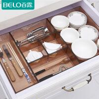 百露抽屉收纳盒隔板格厨房筷子分隔盒透明塑料分类餐具整理化妆柜