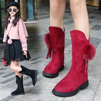 女童靴子秋冬长靴2018新款加绒二棉儿童鞋保暖大童公主棉靴高筒靴