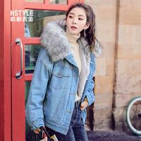 【1件3折336元】韩都衣舍2018韩版女装冬装新款加绒小清新棉服短款棉衣OY7561�S