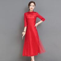 少女旗袍春季新款中国风复古旗袍改良立体花朵刺绣七分袖连衣裙女