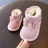 儿童雪地靴2018冬款男女宝宝婴儿保暖棉靴真皮短靴子0-1-2岁
