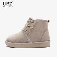 UBZ 2018冬系带雪地靴女短筒加绒保暖面包鞋户外男士棉鞋情侣短靴SN9749