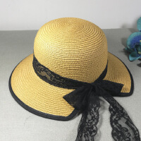 新款女士大沿遮阳帽 防紫外线防晒草帽子 可折叠蝴蝶结缺边盆帽