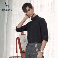 Hazzys哈吉斯男士灰色�r衫男�b�n版潮流�L袖�r衣秋季休�e修身上衣