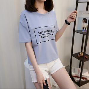韩版圆领短袖t恤女宽松夏季字母印花纯棉t百搭学生白色上衣潮