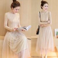 秋季连衣裙长袖气质女装针织毛衣拼接中长款假两件修身网纱裙