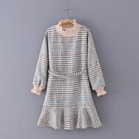 487 女装 冬季新款百搭千格纹腰带修身长袖女式毛呢连衣裙