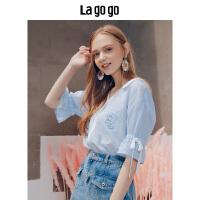Lagogo/拉谷谷2019年夏季新款学院风女小清新刺绣衬衫HACC234A16
